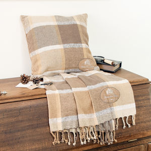 Brown Country Retreat Blanket And Cushion Gift Set - living room