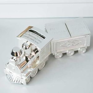 Engraved Train Moneybox With Tooth And Curl Carriage - children's room accessories