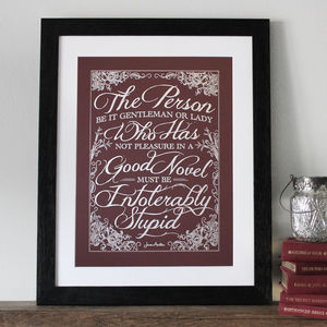 'Enjoy A Good Book' Jane Austen Poster