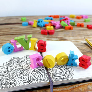 Personalised Alphabet Erasers - writing