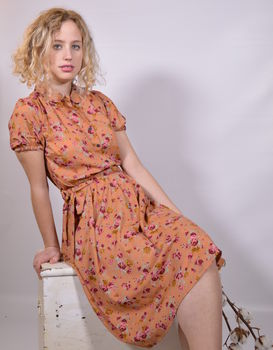 Gracie tea dress in small rose ginger