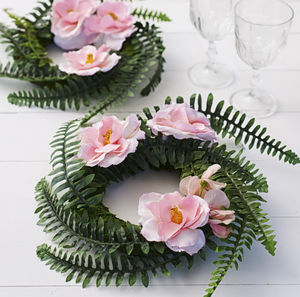 Woodland Wedding Fern And Rose Wreath - outdoor decorations