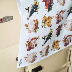 Cows And Flowers Tea Towel