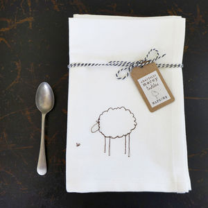 Embroidered Sheep Napkins