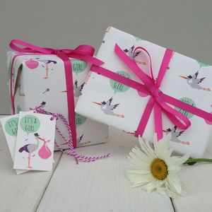 New Baby Girl Gift Wrap - ribbon & wrap