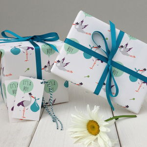 New Baby Boy Gift Wrap - ribbon & wrap