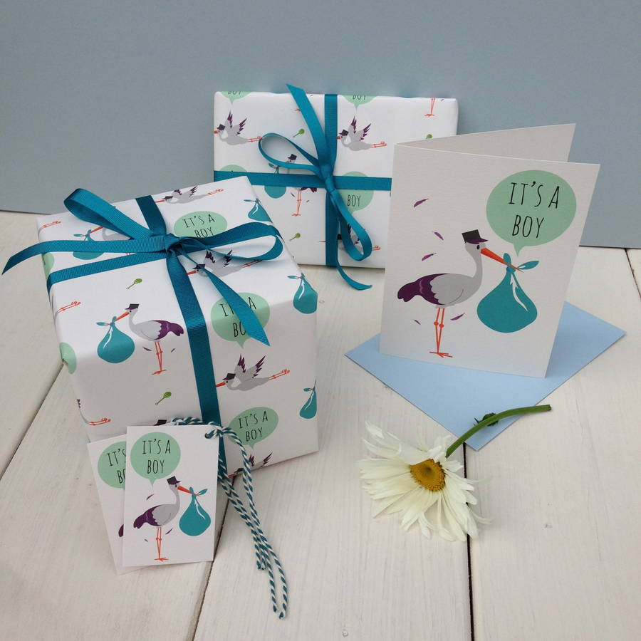 New Baby Boy Gift Wrap By The Little Blue Owl Notonthehighstreet Com
