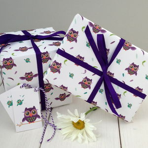 Owl Gift Wrap - ribbon & wrap