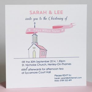 Personalised Christening Invitation/Thank You Card