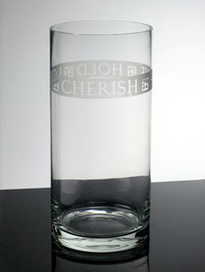 Personalised Engraved Glass Hurricane Lamp Or Vase