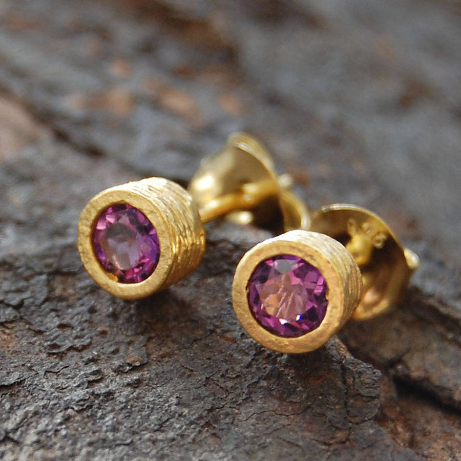 gold amethyst birthstone round stud earrings by embers gemstone