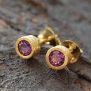 Amethyst Gold Dot Stud Earrings