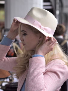 Off White Trilby With Pastel Pink Ribbon - women's accessories