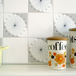 'Tile Tattoo' Tile Stickers: Shanklin Grey - bathroom