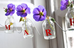Personalised Mini Glass Bottle Garland - garden sale