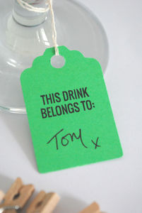 Pack Of Ten Drinks Tags - table decorations