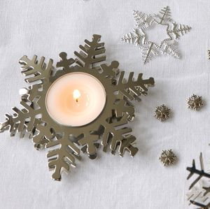 Silver Snowflake Tea Light Holder
