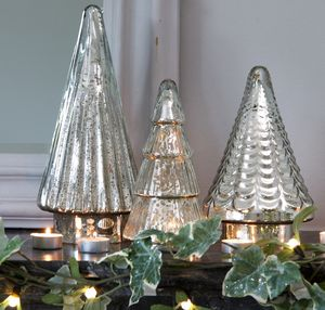 Mirrored Glass Table Top Christmas Trees Set Of Three - christmas trees