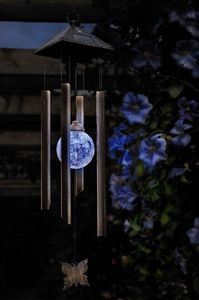 Butterfly Solar Globe Wind Chime Light - art & decorations