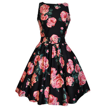 1950s Style Rose Floral Tea Dress