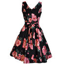 1950s Style Rose Floral Tea Dress