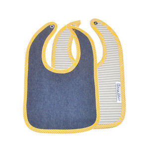 Denim Bib In Wooden Scroll