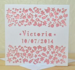 Personalised Laser Cut New Baby Card - new baby cards