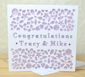 Personalised Laser Cut Engagement Card - wedding, engagement & anniversary cards