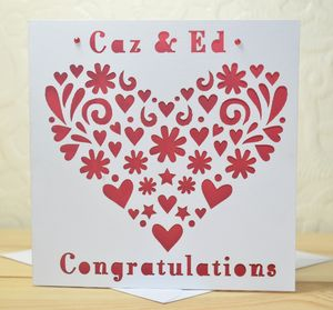 Personalised Laser Cut Heart Card - wedding cards