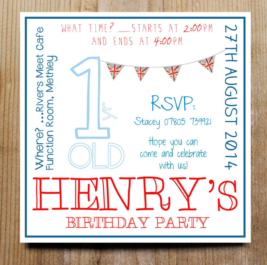 personalised child s party invitation by precious little plum boys bunting invites