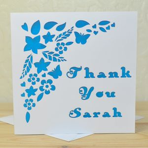 Personalised Laser Cut Thank You Card