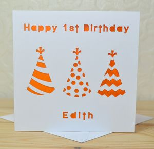 Personalised Laser Cut Hat Birthday Card - 1st birthday cards