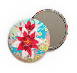 Cloud Lily Silk Covered Compact Mirror - compact mirrors