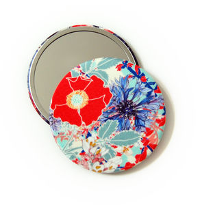 Rose Red Silk Covered Compact Mirror