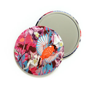 Ruby Glade Silk Covered Compact Mirror