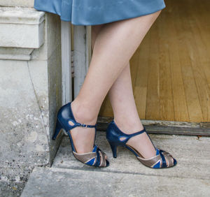 Doris T Bar Leather Sandals - january blues, greens & greys