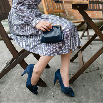Monroe Suede Court Shoes With Bow