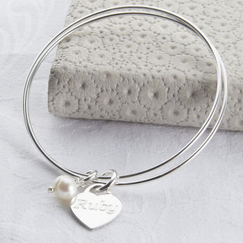 Personalised Sterling Silver Charm Double Bangle