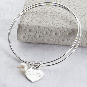 Personalised Sterling Silver Charm Double Bangle - £25 - £50