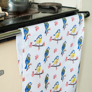Blue Tit Blossom Tea Towel - kitchen accessories