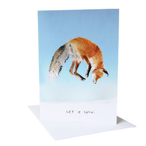 'Let it Snow' Fox Christmas Card - christmas cards: packs
