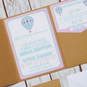 Pocketfold Love Balloon Personalised Wedding Invitation