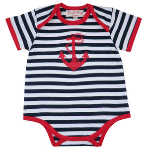 Stripes And Anchor Baby Grow - nautical necessities