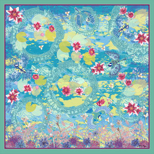 Cloud Lily Silk Scarf