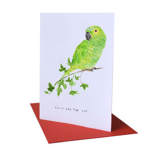 'Polly & the Ivy' Parrot Christmas Card - cards