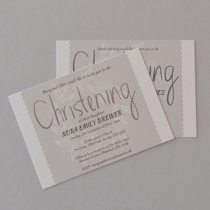 Personalised Christening Invites - naming day & christening invitations