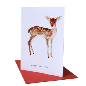 'Happy Christmas' Fawn Christmas Card