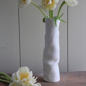 Handmade Porcelain Hessian Print Wobble Vase
