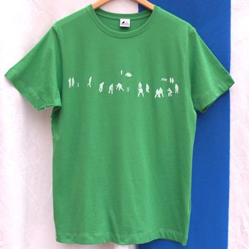 Green with white print Cricket Match T Shirt