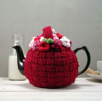 Flower Basket Hand Knit Tea Cosy